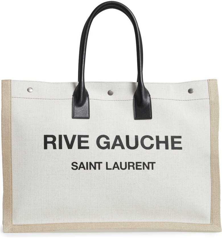 SAINT LAURENT Noe Rive Gauche Logo Linen Tote, Main, color, BLACK/ WHITE