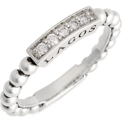 Lagos Caviar Icon Spark Diamond Stacking Ring