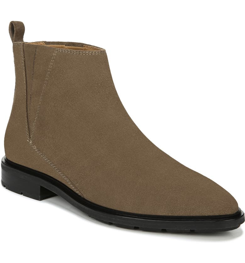VIA SPIGA Emelin Water Resistant Bootie, Main, color, DARK CAMEL SUEDE