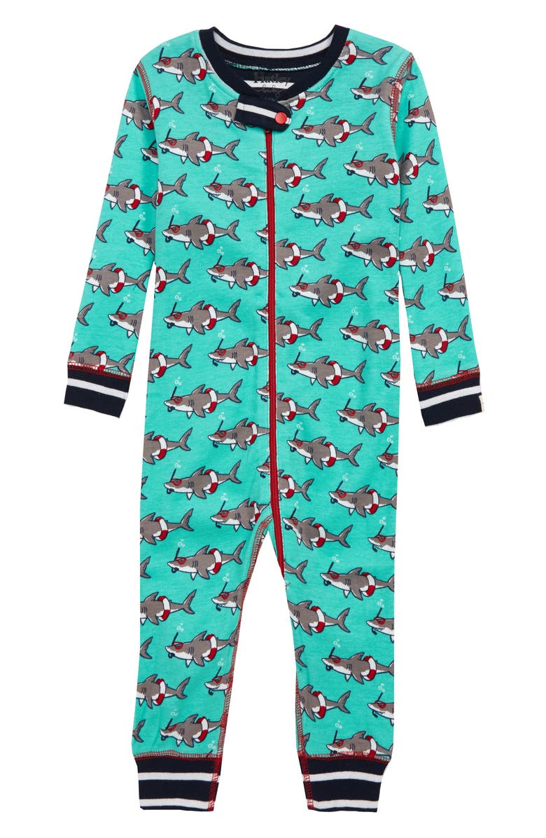 HATLEY Snorkeling Sharks Organic Cotton Fitted One-Piece Pajamas, Main, color, 400