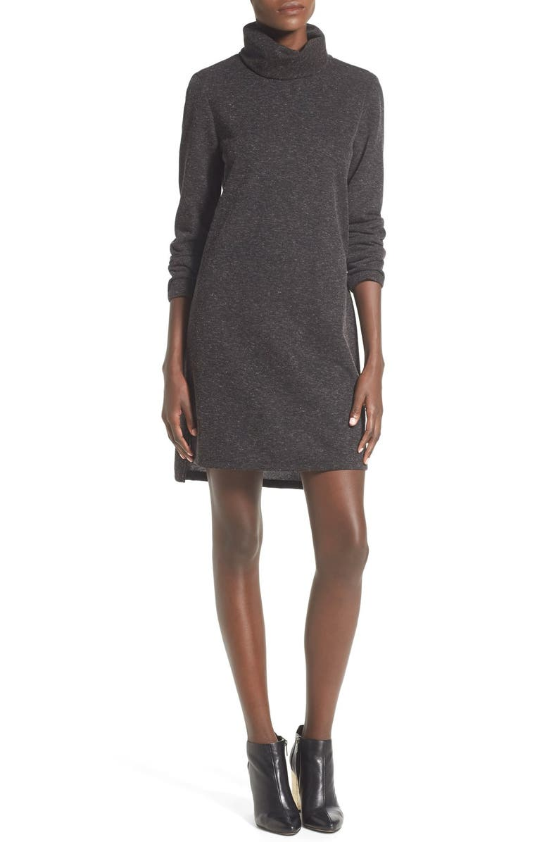 WAYF Rib Knit Turtleneck Shift Dress, Main, color, 020