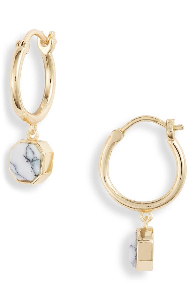 GORJANA Power Stone Charm Huggie Earrings, Main, color, HOWLITE