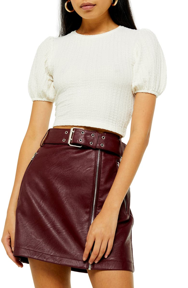 TOPSHOP Puff Sleeve Crop Top, Main, color, CREAM