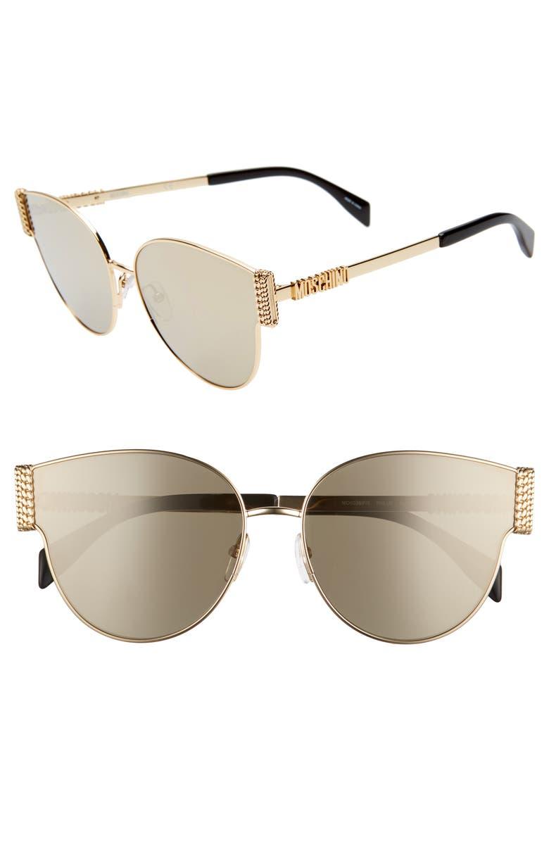 MOSCHINO 61mm Special Fit Cat Eye Sunglasses, Main, color, GOLD/ BLACK