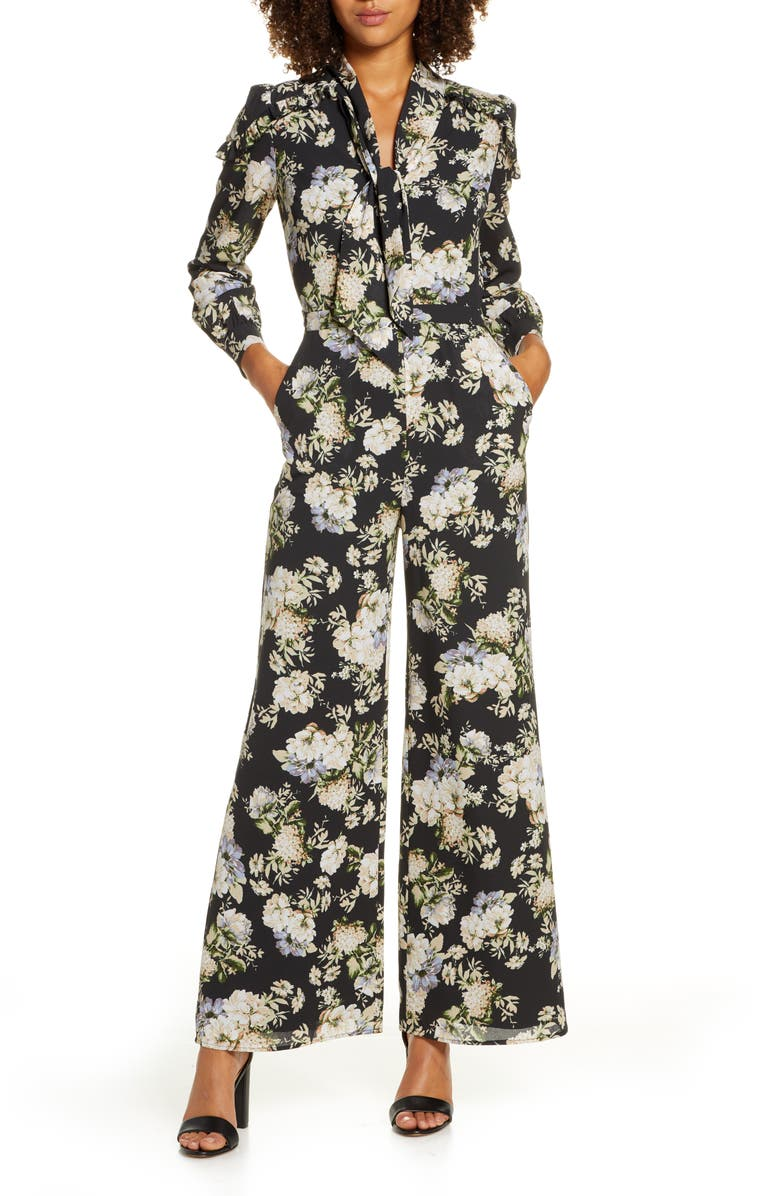 ALI & JAY Stay Magical Floral Print Long Sleeve Jumpsuit, Main, color, BLACK FLORAL