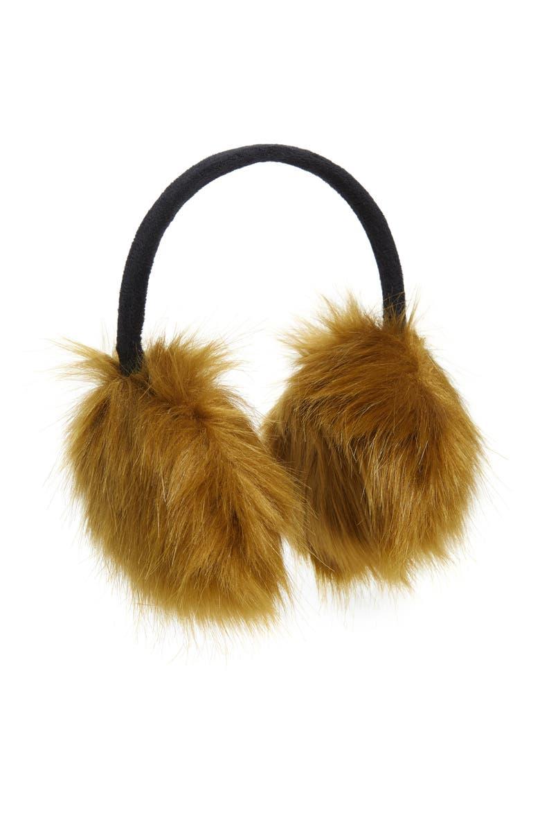 BP. Faux Fur Ear Muffs, Main, color, BROWN COMBO