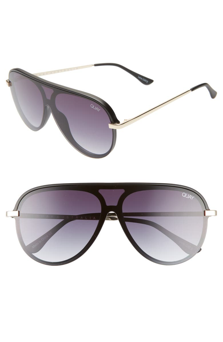 QUAY AUSTRALIA x JLO Empire 57mm Shield Sunglasses, Main, color, BLACK/ SMOKE FADE