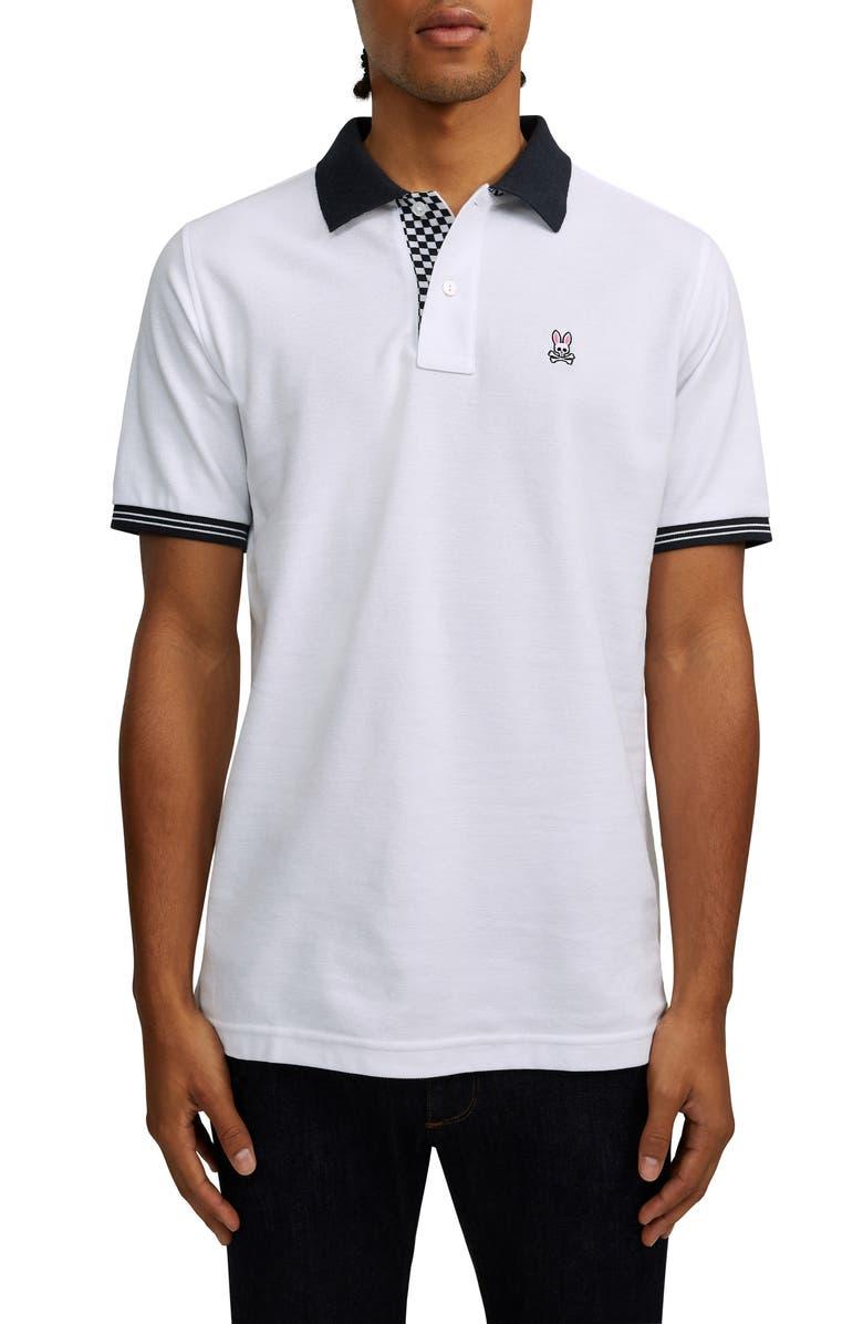 PSYCHO BUNNY Camley Piqué Polo, Main, color, 100 WHITE