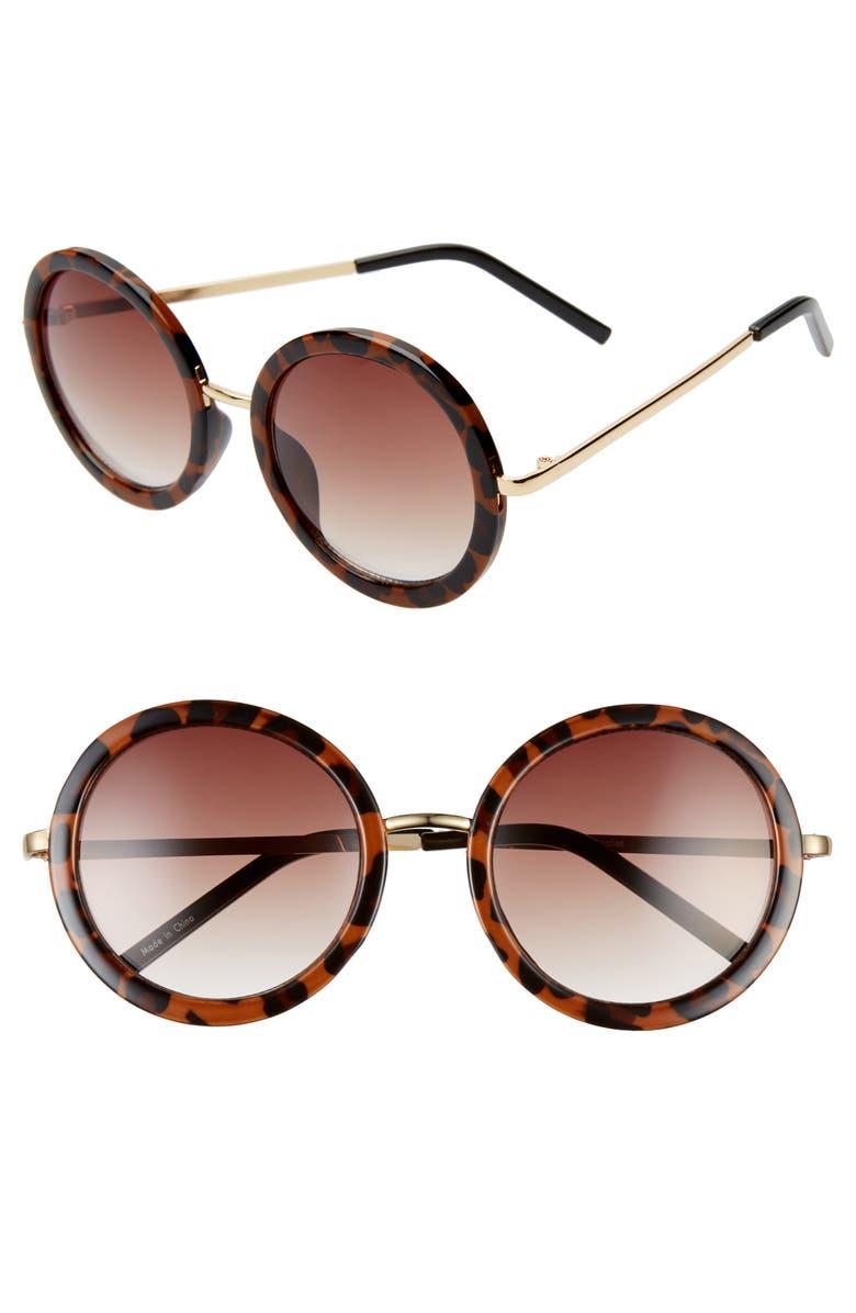 BP. 50mm Round Sunglasses, Main, color, LEOPARD
