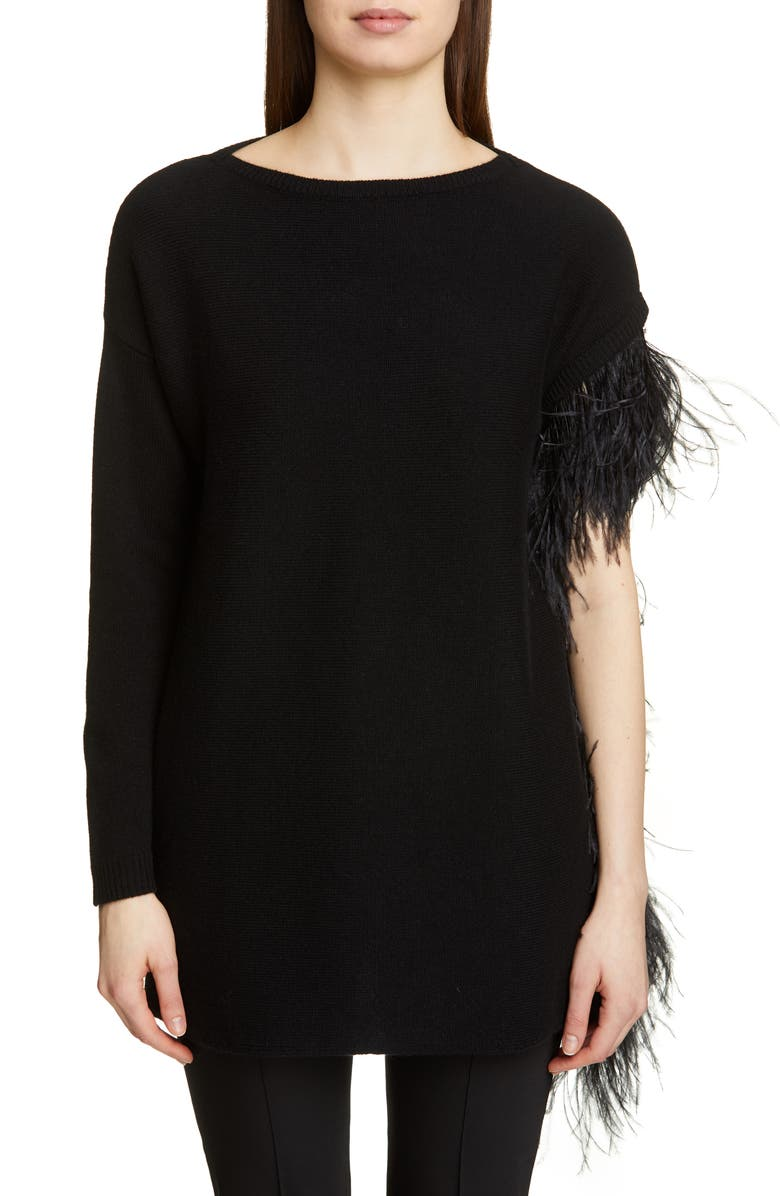 VALENTINO Feather Detail Cashmere Sweater, Main, color, 0NO-NERO