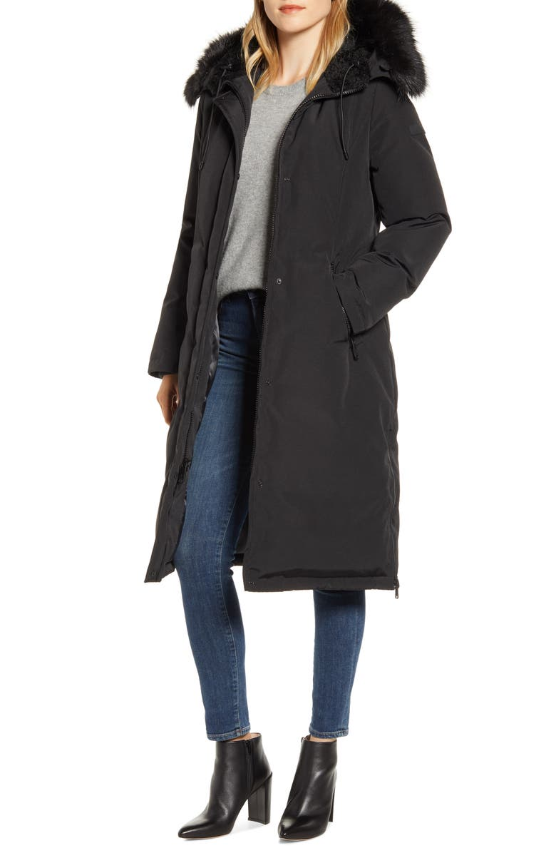 SAM EDELMAN Water Resistant Long Parka with Faux Fur Trim, Main, color, 001