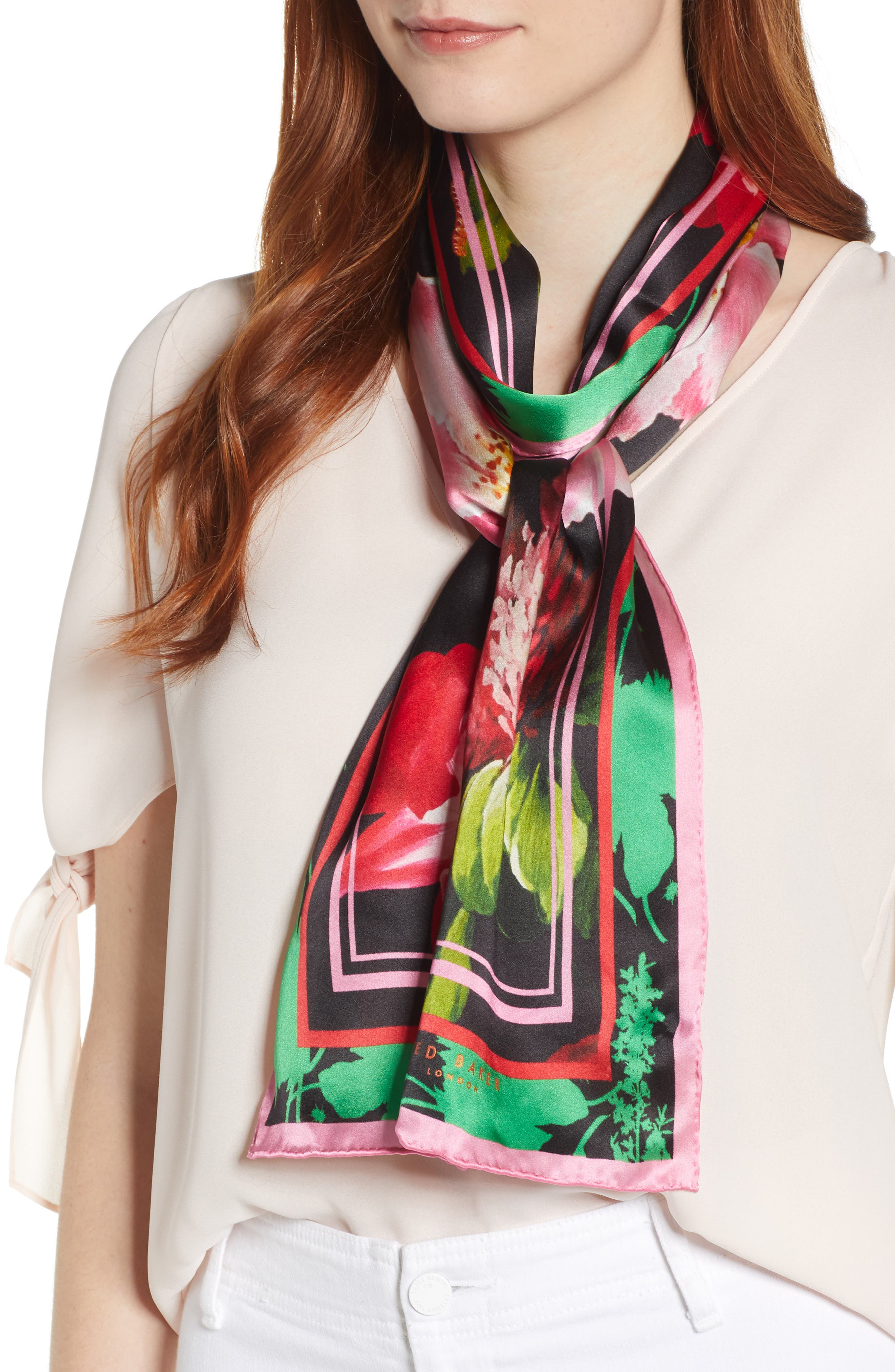 Berry Sundae Floral Silk Scarf, Main, color, BLACK
