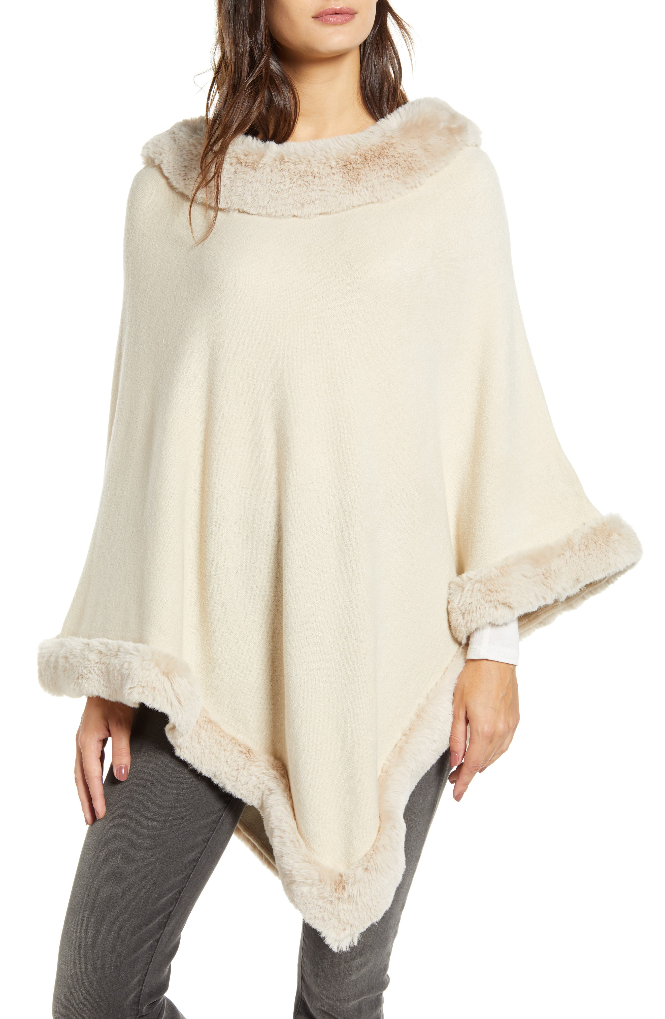 Victorian Capelet, Cape, Cloak, Shawl, Muff Womens Love Token Faux Fur Trim Poncho Size MediumLarge - Beige $135.00 AT vintagedancer.com