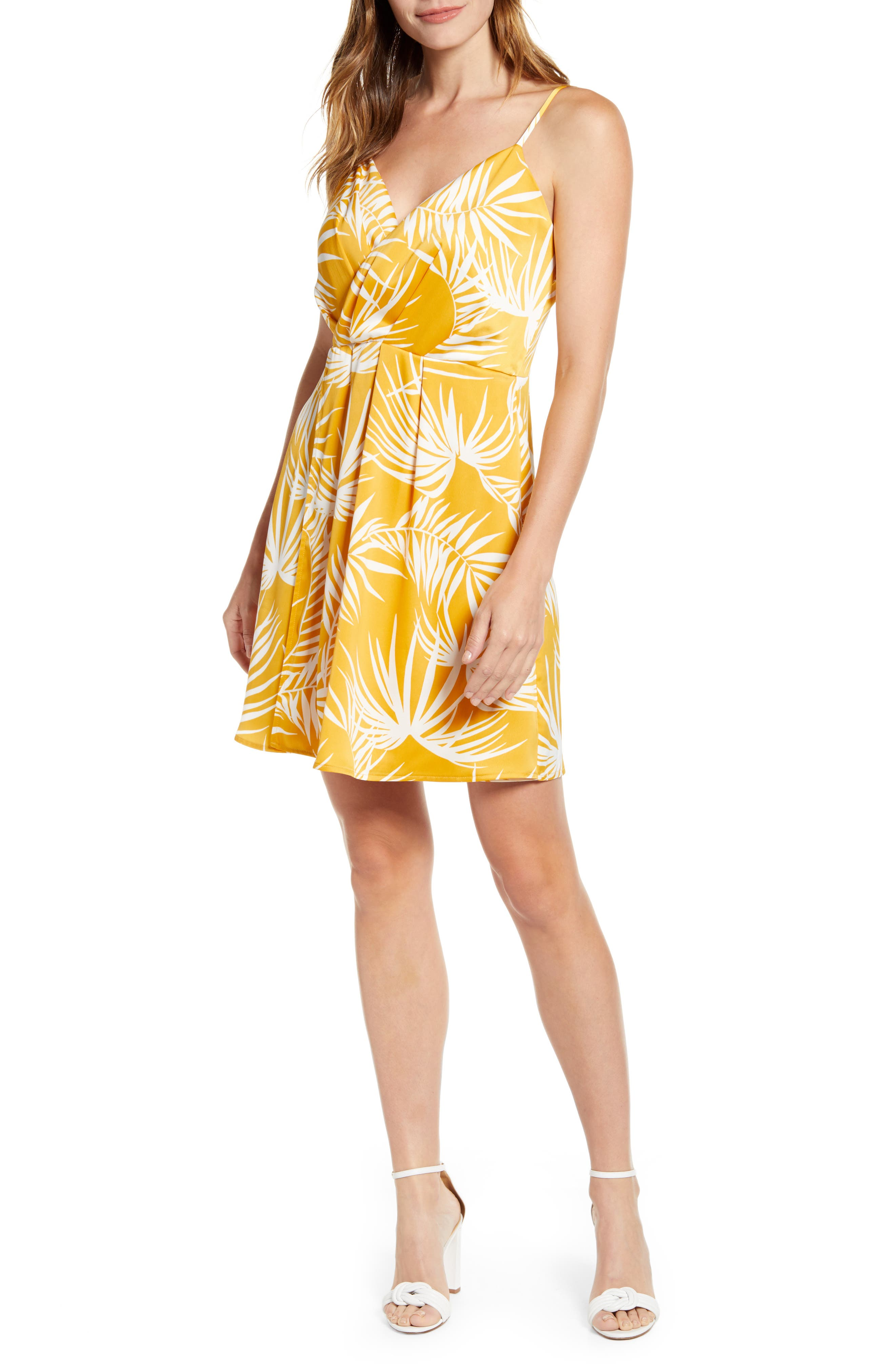 Petite Gibson X Hot Summer Nights Natalie Satin Faux Wrap Dress, Yellow (Regular & Petite) (Nordstrom Exclusive)