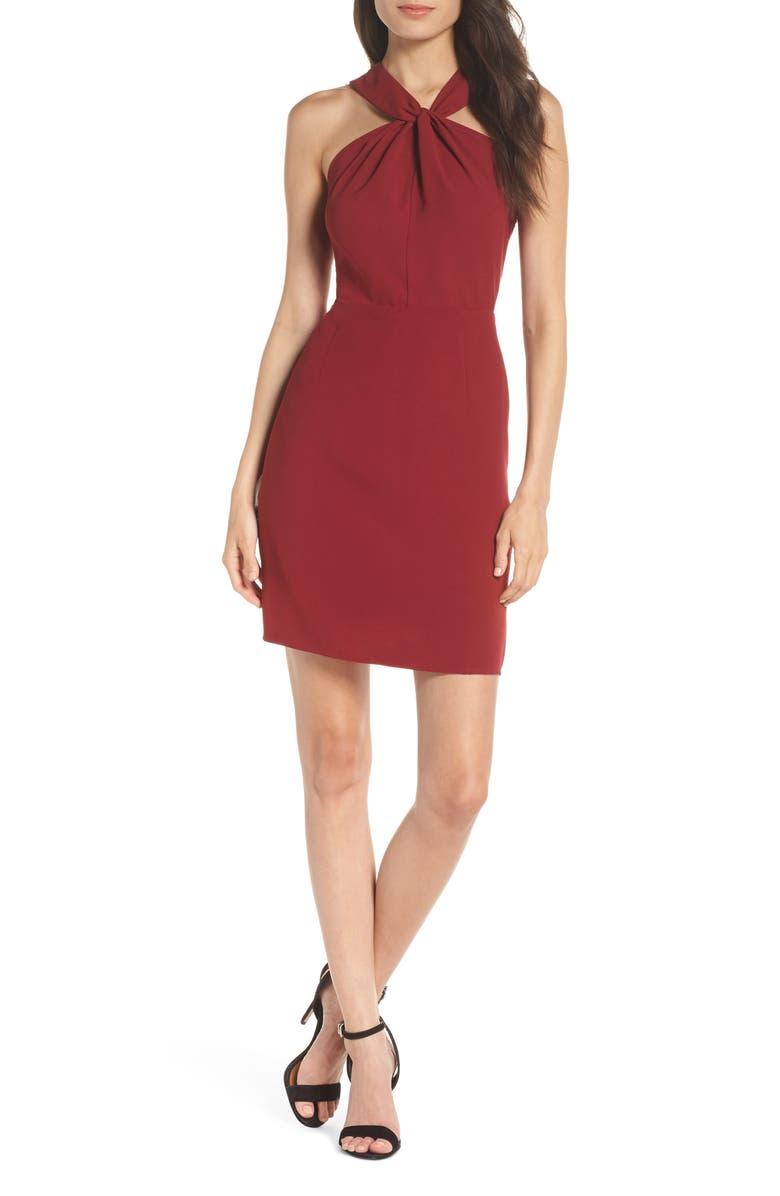 Lace Back Halter Sheath Dress