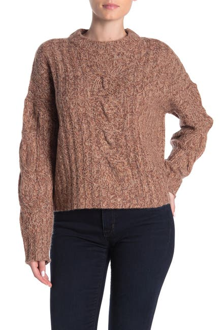 Image of 360 Cashmere Destiny Marled Cable Knit Cashmere Sweater