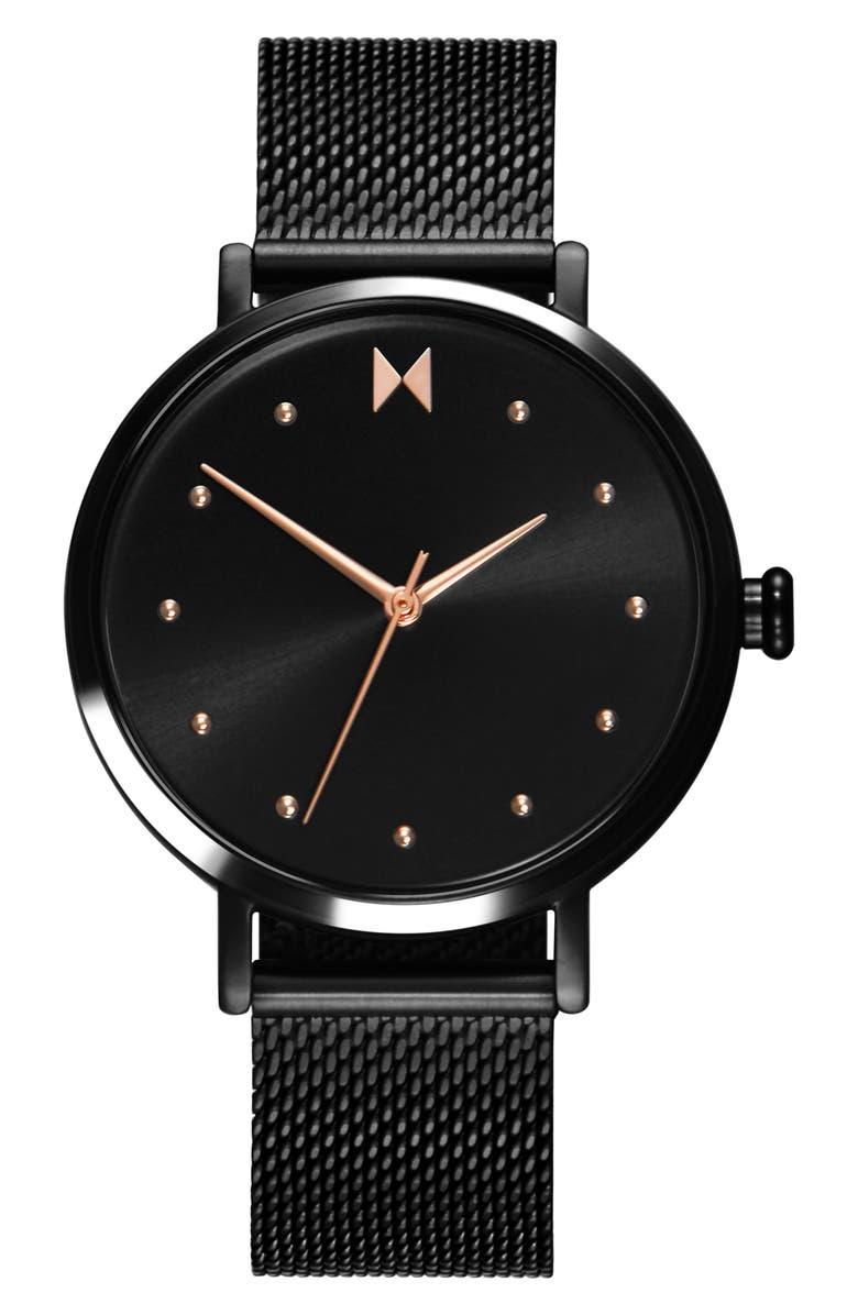 MVMT Dot Mesh Strap Watch, 36mm, Main, color, BLACK