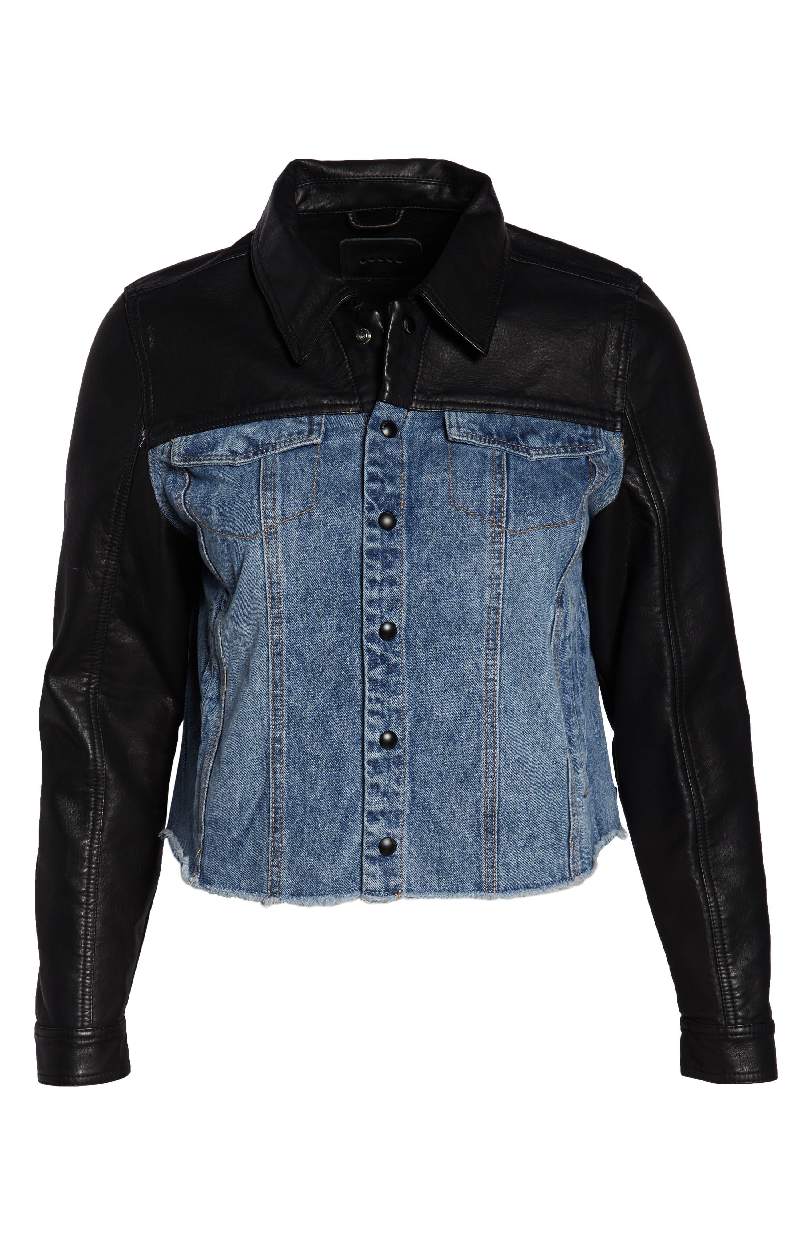 ,                             Faux Leather & Denim Jacket,                             Alternate thumbnail 12, color,                             001