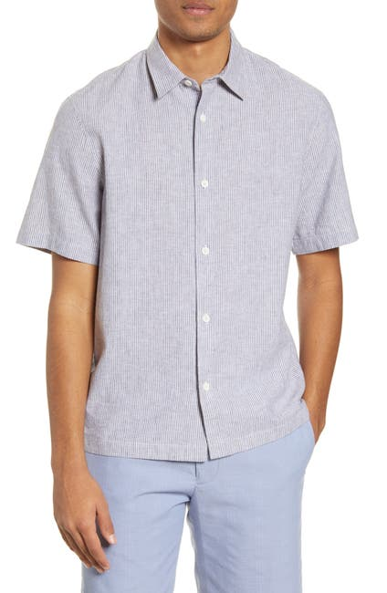 Image of CLUB MONACO Stripe Short Sleeve Chambray Button-Up Shirt