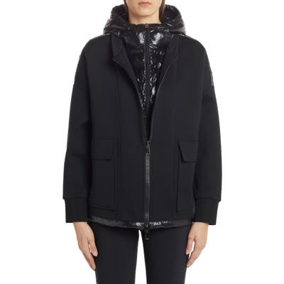 Moncler Quilted Down Mixed Media Jacket, Black