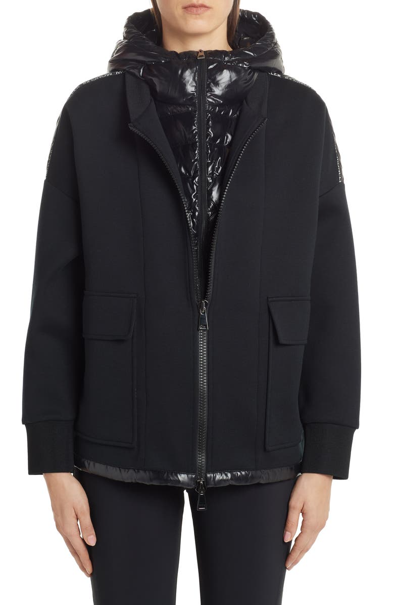 MONCLER Quilted Down Mixed Media Jacket, Main, color, BLACK