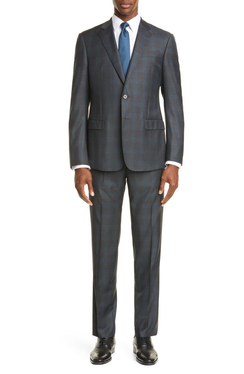 EMPORIO ARMANI Trim Fit Plaid Wool Suit, Main, color, GREY