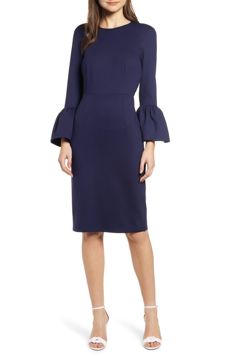 RACHEL PARCELL Bell Sleeve Sheath Dress, Main, color, 401
