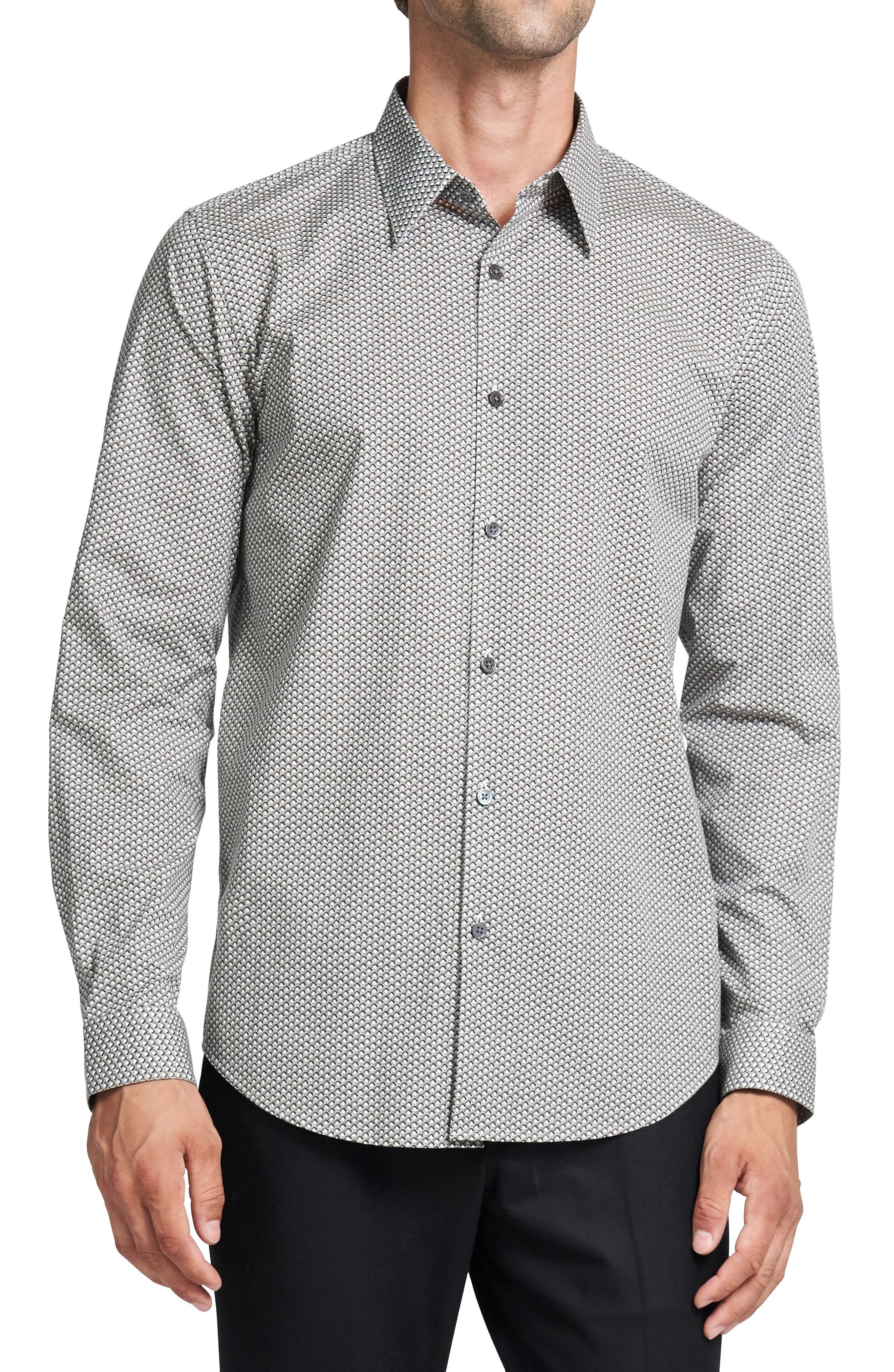 Image of Theory Irving Mini Scale Print Button Up Shirt