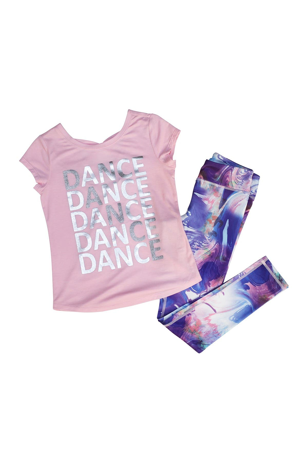 Image of 90 Degree By Reflex Criss Cross Back Short Sleeve Top & Printed Legging Set