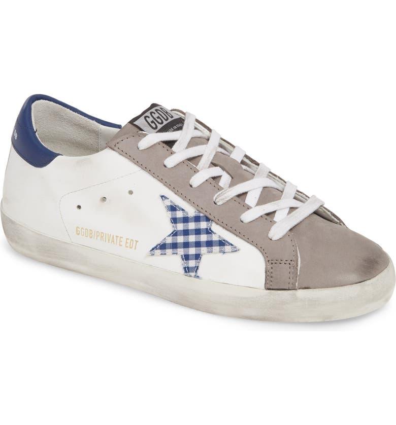GOLDEN GOOSE Superstar Gingham Star Sneaker, Main, color, WHITE/ BLUE GINGHAM