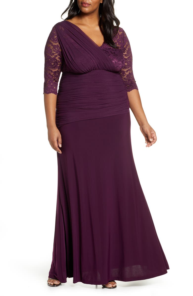 KIYONNA Soirée Evening Gown, Main, color, IMPERIAL PLUM