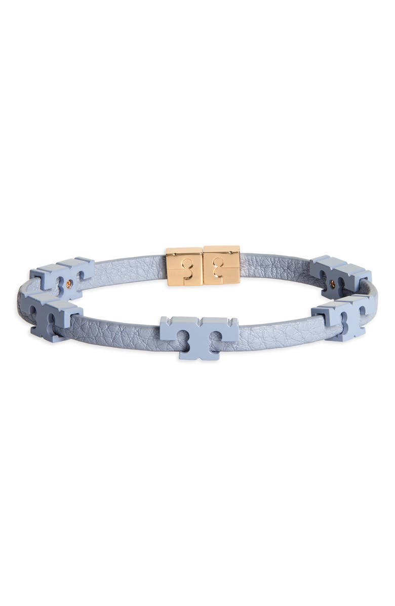 TORY BURCH Serif-T Stackable Coated Leather Bracelet, Main, color, TORY GOLD / CLOUD BLUE