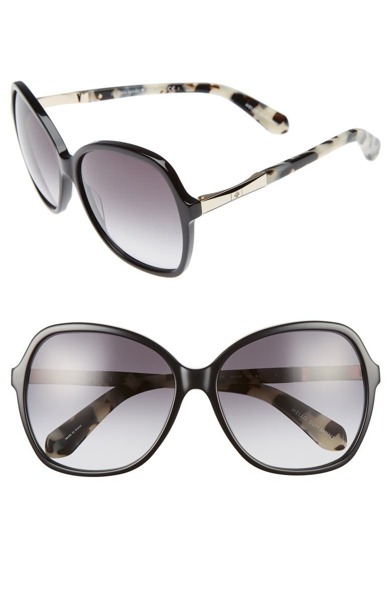 KATE SPADE NEW YORK jolyn 58mm sunglasses, Main, color, 001