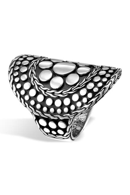 Image of JOHN HARDY Sterling Silver Nuansa Curved Dot Ring - Size 7