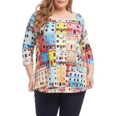 Plus Size Karen Kane Print Shirttail Tee, Red