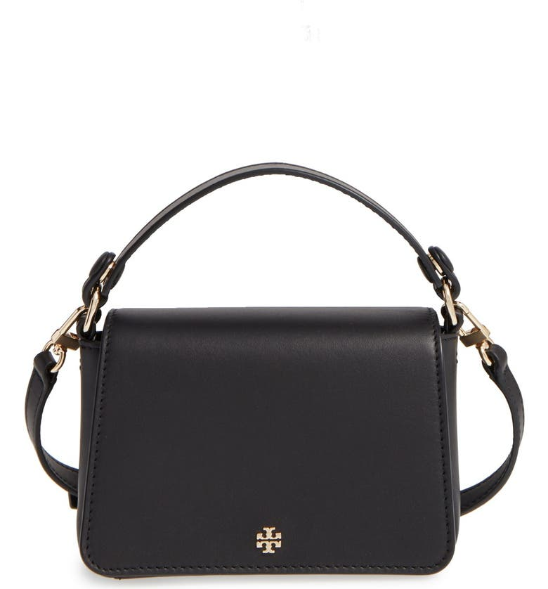 TORY BURCH 'Micro' Leather Crossbody Satchel, Main, color, 001