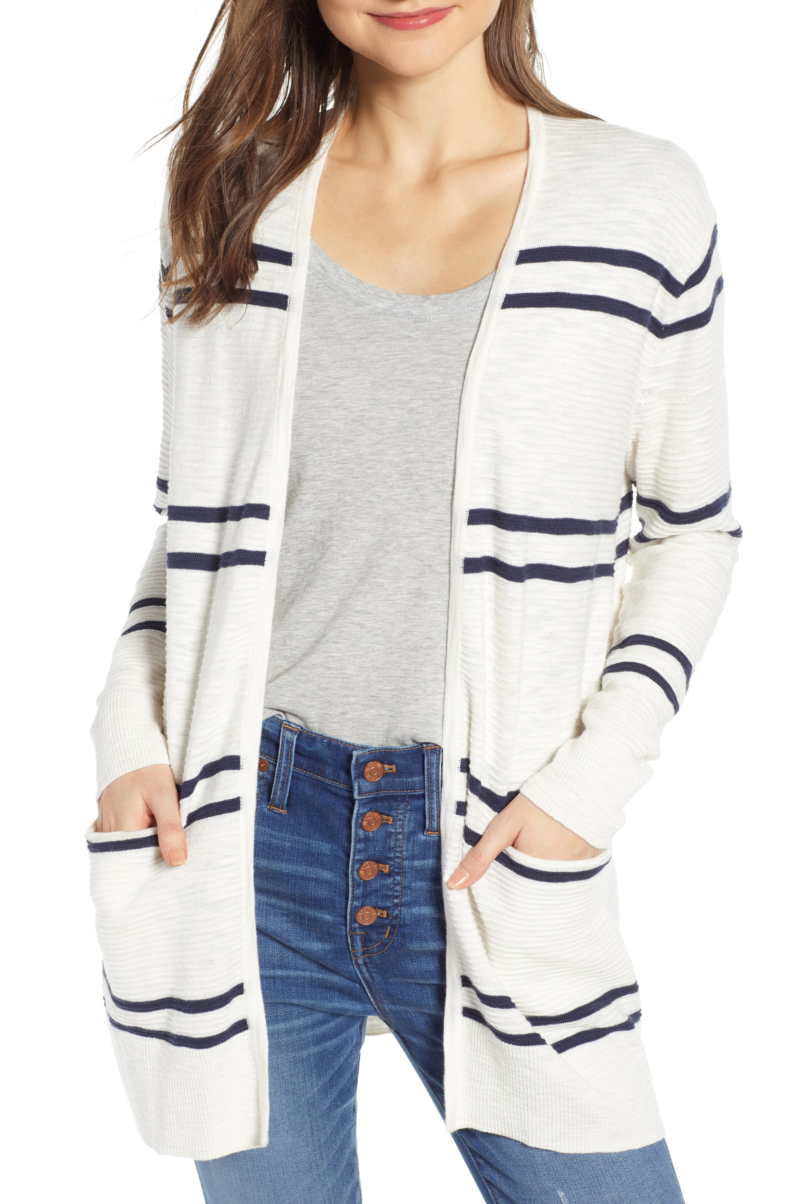 Plus Size Madewell Stripe Summer Ryder Cardigan Sweater, Blue