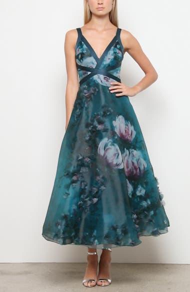 Embellished Floral Print Organza Midi Dress, video thumbnail