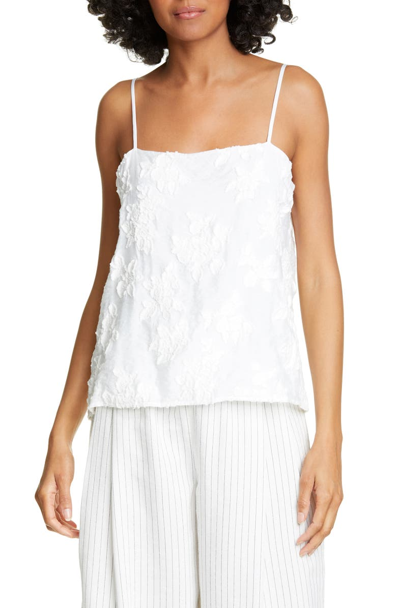 VINCE Textured Floral Camisole, Main, color, OPTIC WHITE