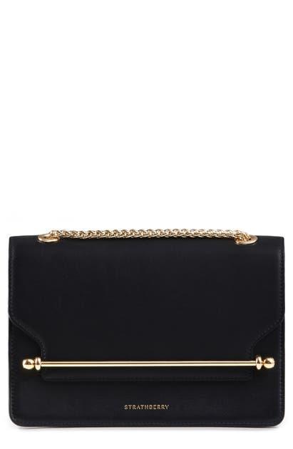 Strathberry East/west Stylist Leather Shoulder Bag In Black