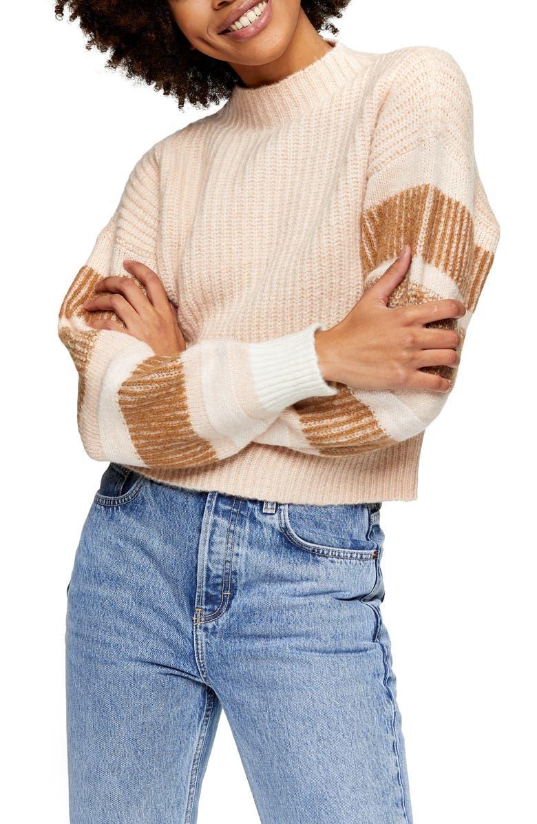 TOPSHOP Stripe Crewneck Sweater, Main, color, BEIGE MULTI