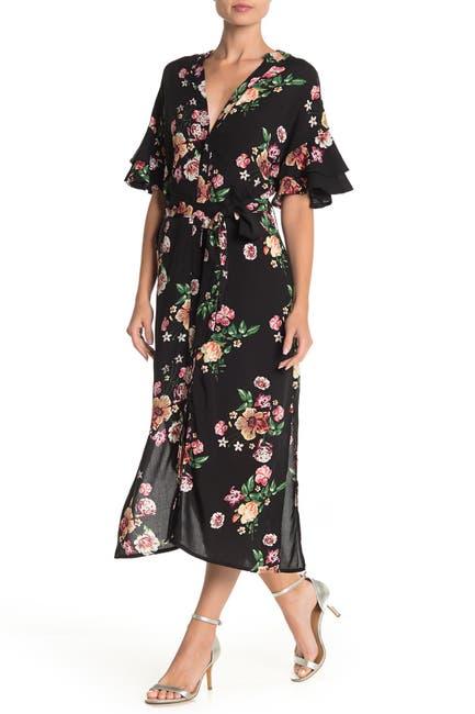 Image of Papillon Floral Ruffle Sleeve Button Midi Dress