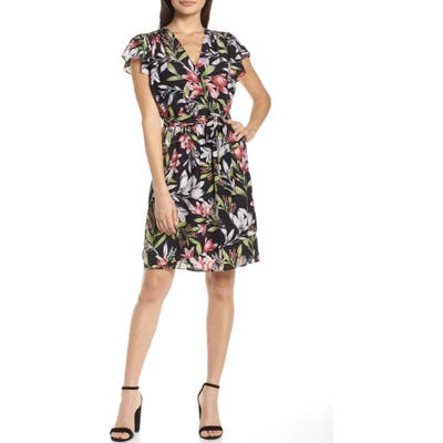 French Connection Floreta Faux Wrap Dress, Black