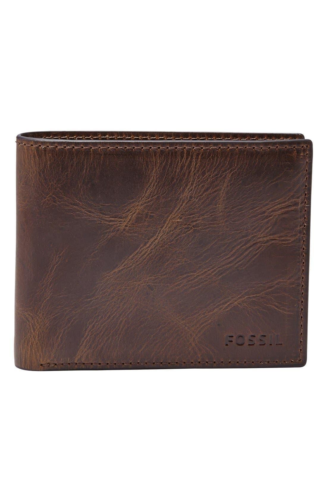 ,                             'Derrick' RFID Leather Bifold Wallet,                             Main thumbnail 1, color,                             DARK BROWN