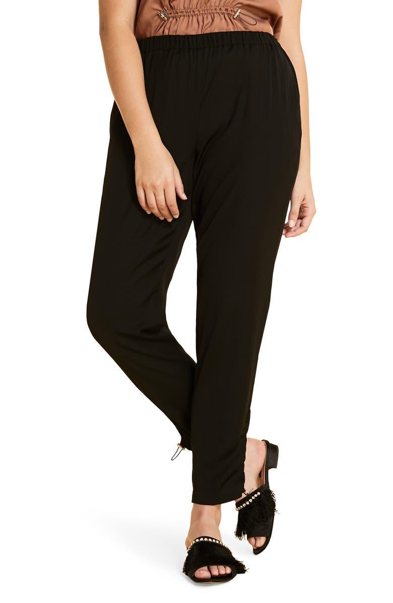 MARINA RINALDI Ruched Ankle Detail Pants, Main, color, BLACK