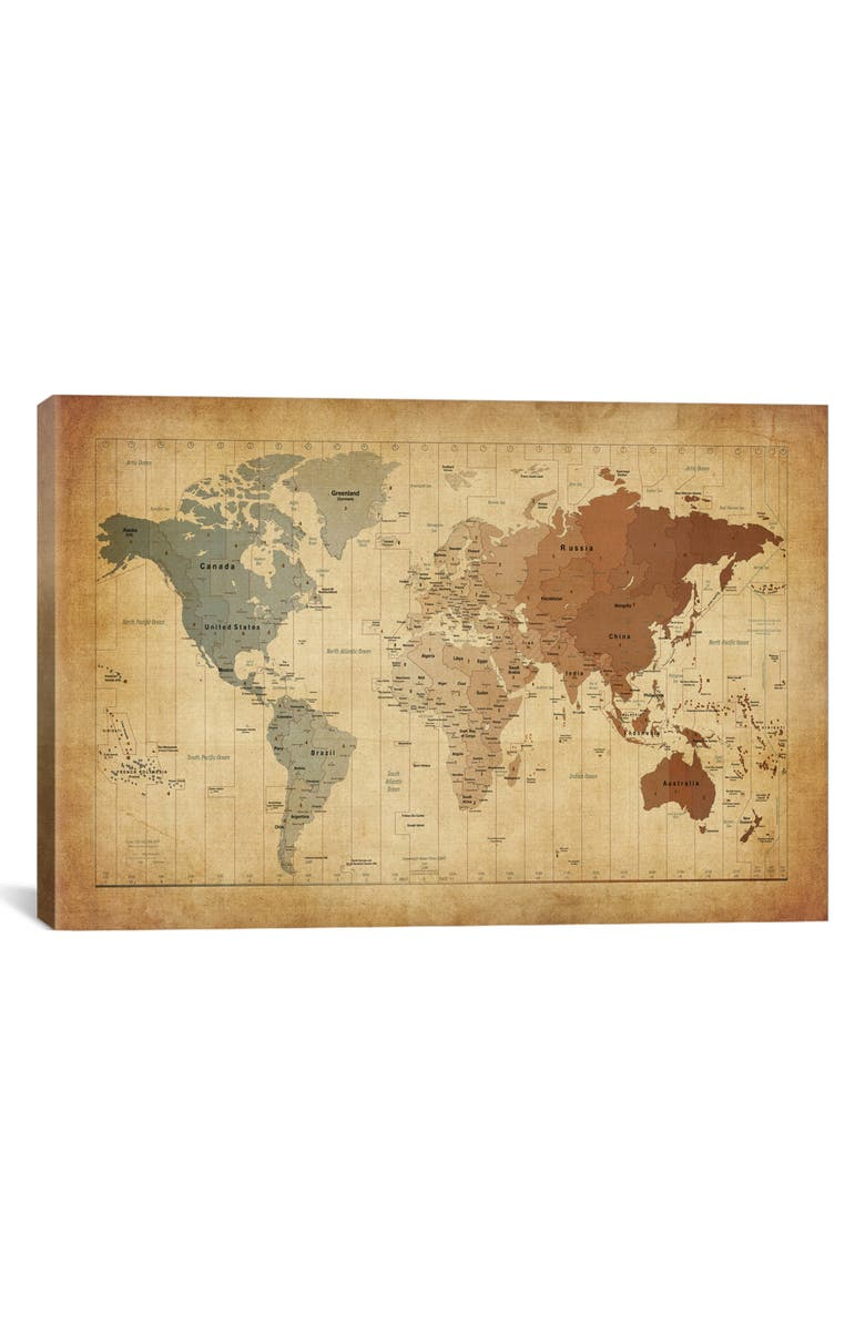 ICANVAS Map of the World III by Michael Tompsett Giclée Print Canvas Art, Main, color, BEIGE