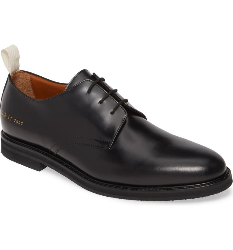COMMON PROJECTS Standard Plain Toe Derby, Main, color, BLACK