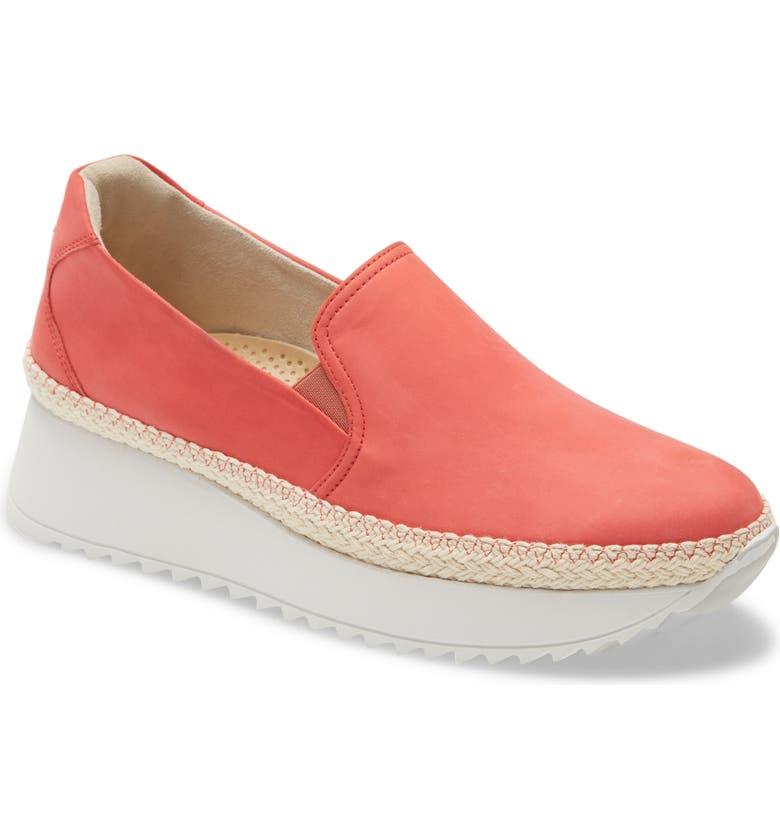 PAUL GREEN Candice Slip-On Platform Sneaker, Main, color, CORAL NUBUCK