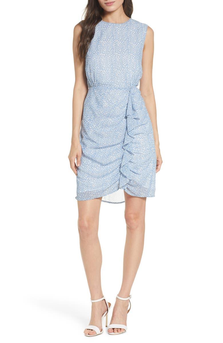 SAM EDELMAN Sleeveless Ruffle Chiffon Dress, Main, color, SOFT BLUE