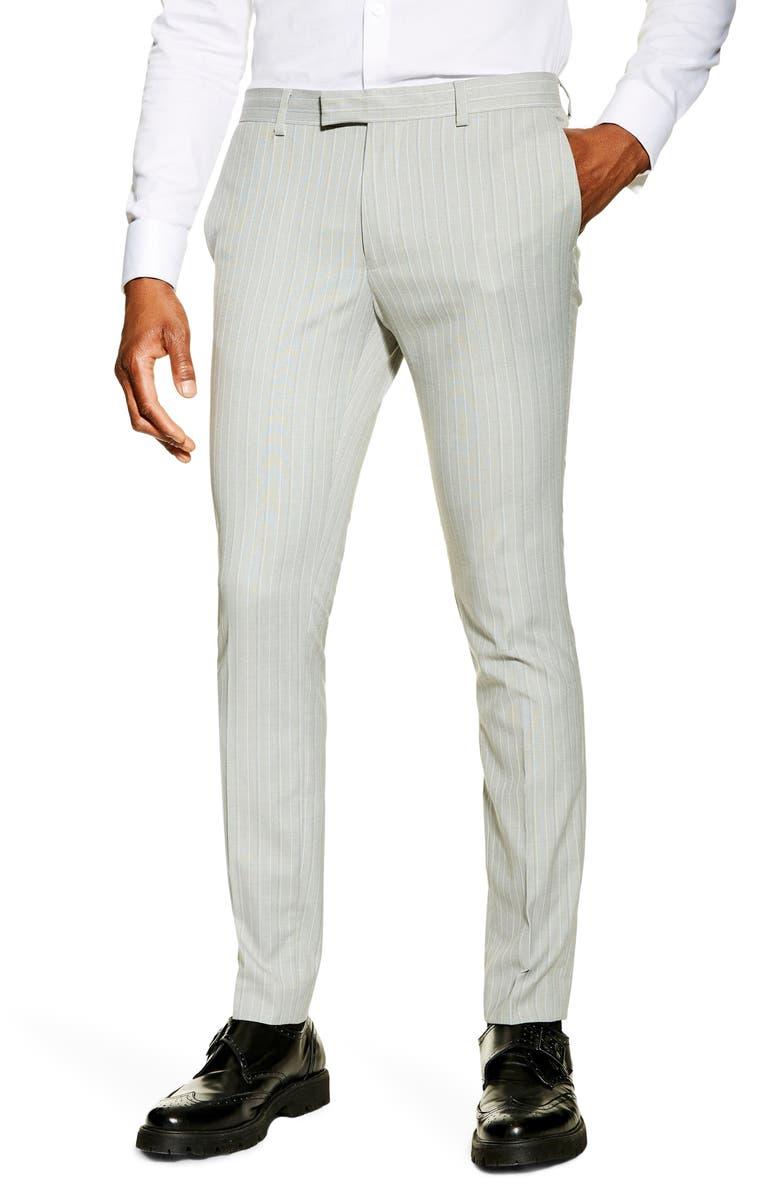 TOPMAN Super Skinny Fit Pinstripe Suit Dress Pants, Main, color, GREY